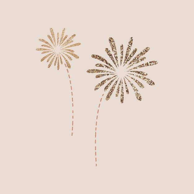 Doodle de fuegos artificiales de año nuevo sobre fondo beige