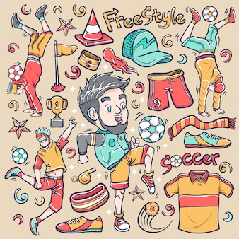 Doodle de fútbol callejero freestyle urbano