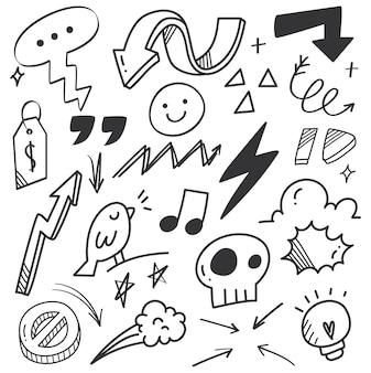 Doodle de garabato de flecha dibujada a mano