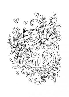 Doodle del gato sentado en las flores.