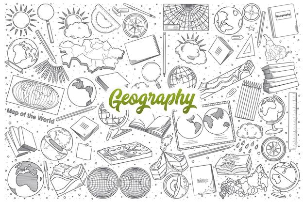 Doodle de geografía dibujado a mano establecer fondo con letras verdes