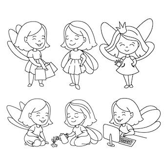 Doodle girls vector illustration set