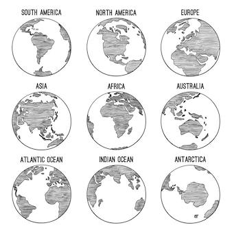 Doodle de globo terráqueo. planeta bosquejado mapa américa india áfrica continentes ilustraciones dibujadas a mano. globo mundo tierra, américa, áfrica, continente en todo el mundo