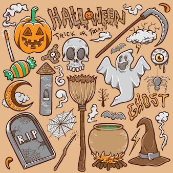 Doodle de halloween establece ilustración vectorial para colorear