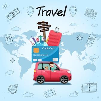 Doodle hand draw coche viajero de dibujos animados con humo y viajes de activos de tarjeta de crédito alrededor del mundo.