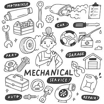 Doodle de herramientas y equipos mecánicos