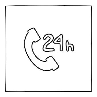 Doodle icono de llamada telefónica de servicio 24 horas, dibujado a mano con línea negra fina