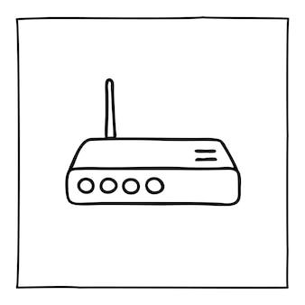 Doodle icono o logotipo de enrutador de módem, dibujado a mano con una delgada línea negra.