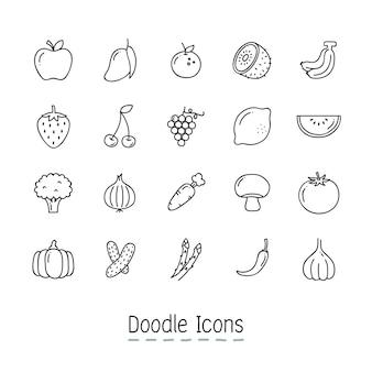 Doodle iconos de frutas y vegetales.