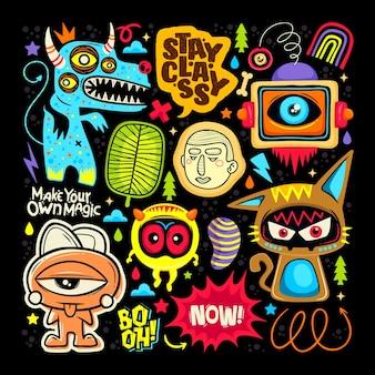 Doodle iconos etiqueta monstruo lindo dibujado mano vector para colorear