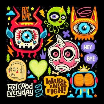 Doodle iconos etiqueta monstruo lindo dibujado mano vector para colorear vector gratuito