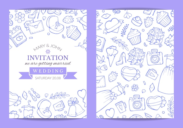 Doodle ilustración de cartel de plantilla de invitación de boda