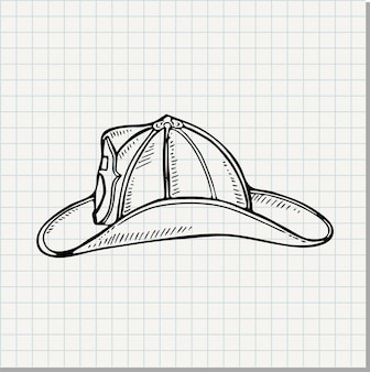 Doodle ilustración de un casco de bombero