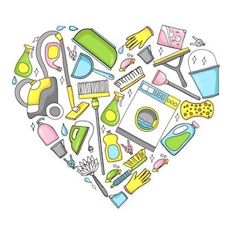 Doodle ilustración de equipos de limpieza en forma de corazón.