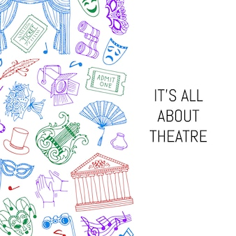 Doodle ilustración de fondo de elementos de teatro con lugar para el texto
