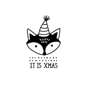Doodle ilustración de navidad de zorro.