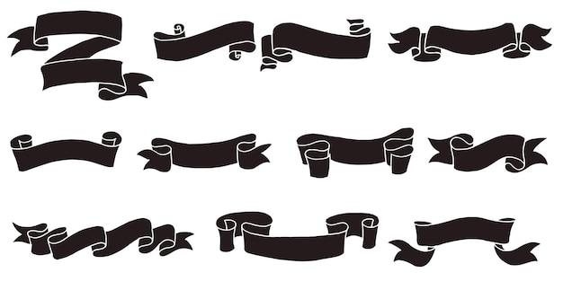 Doodle de ilustraciones de banner de cinta aisladas sobre fondo blanco. ilustración de vector dibujado a mano.
