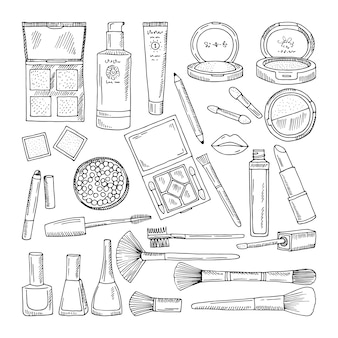 Doodle ilustraciones de cosméticos de mujer. herramientas de maquillaje para mujeres hermosas.