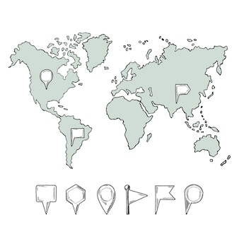 Doodle ilustraciones del mapa del mundo con pasadores dibujados a mano.