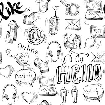 Doodle inconsútil fondo de redes sociales