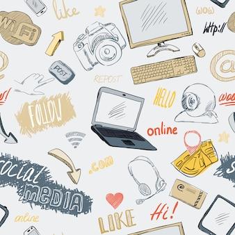 Doodle inconsútil patrón de redes sociales