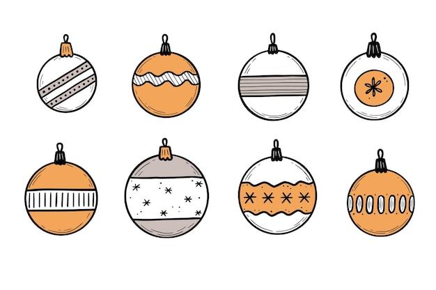 Doodle juego de bolas de navidad. estilo de boceto dibujado a mano. adorno navideño de color con línea negra. ilustración de vector aislado.