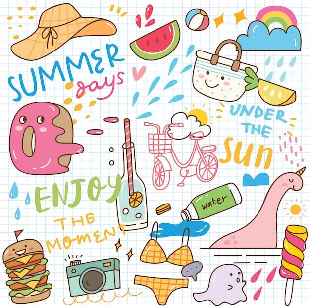 Doodle de kawaii de verano