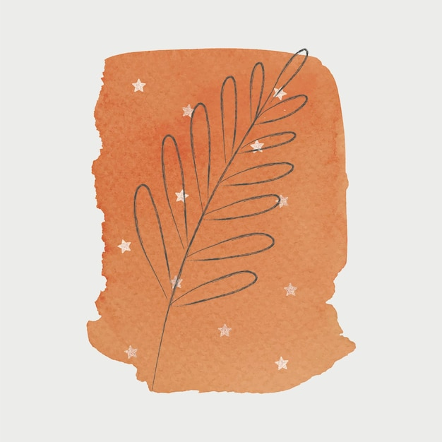 Doodle lea con fondo de trazo de pincel naranja