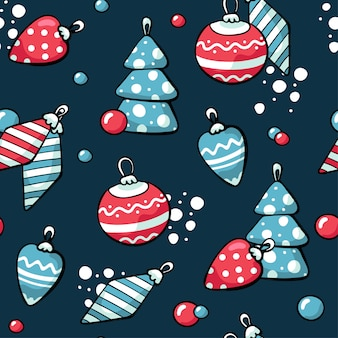 Doodle lindo árbol de navidad juguetes patrón