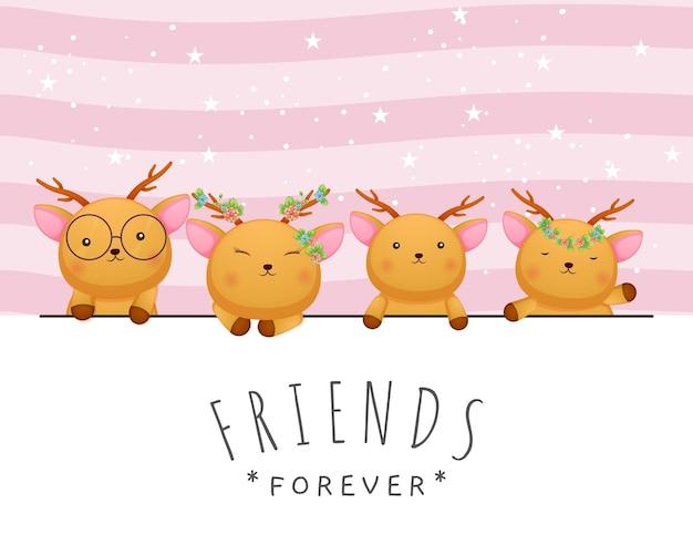 Doodle lindo bebé ciervos amigos saludo doodle de dibujos animados