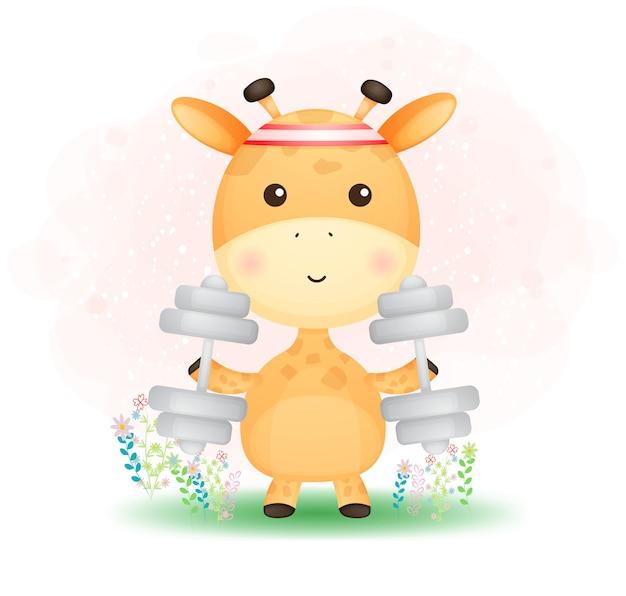 Doodle lindo bebé jirafa ejercicio y sosteniendo mancuernas