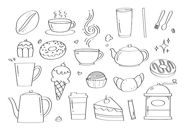 Doodle lindo café café y panadería dibujos animados iconos y objetos.