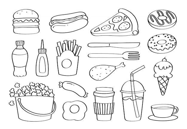 Doodle lindo comida rápida iconos de dibujos animados y objetos.