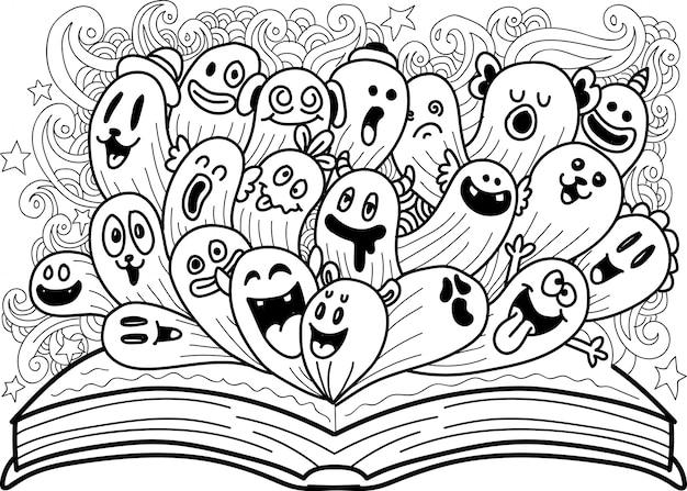 Doodle lindo monstruo con libro abierto