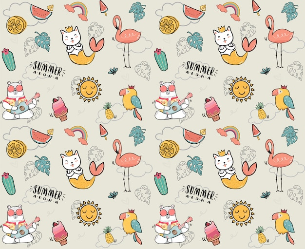 Doodle lindo patrón de colección de verano
