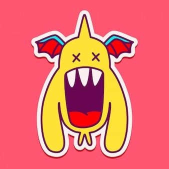 Doodle lindo personaje monstruo