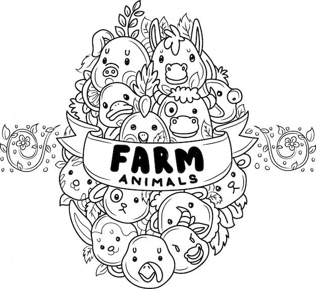 Doodle lindos animales de granja en forma de huevo