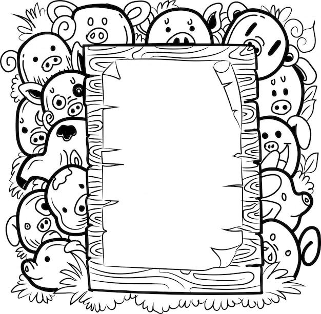 Doodle lindos animales de granja con tablero de mensajes en blanco