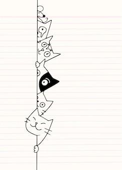 Doodle lindos gatos se esconde detrás de la pared, dibujo de dibujos animados