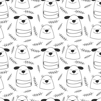 Doodle línea perros y osos de patrones sin fisuras