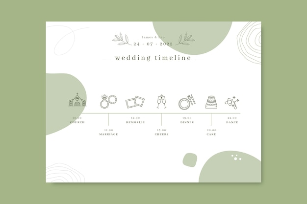 Doodle línea de tiempo de boda monocolor