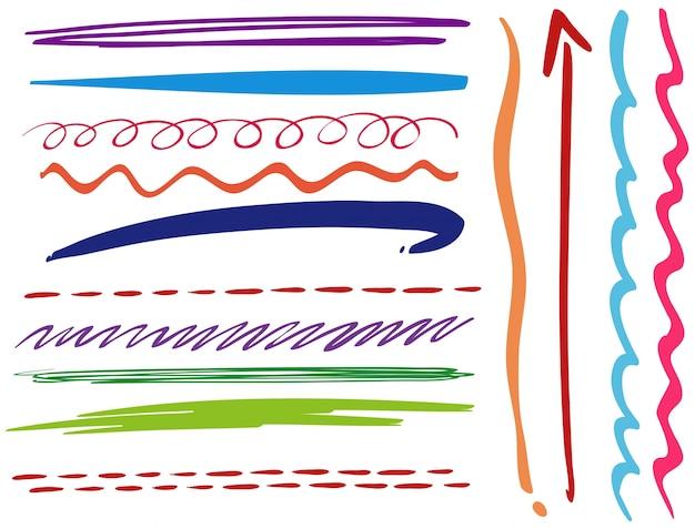 Doodle líneas en diferentes estilos
