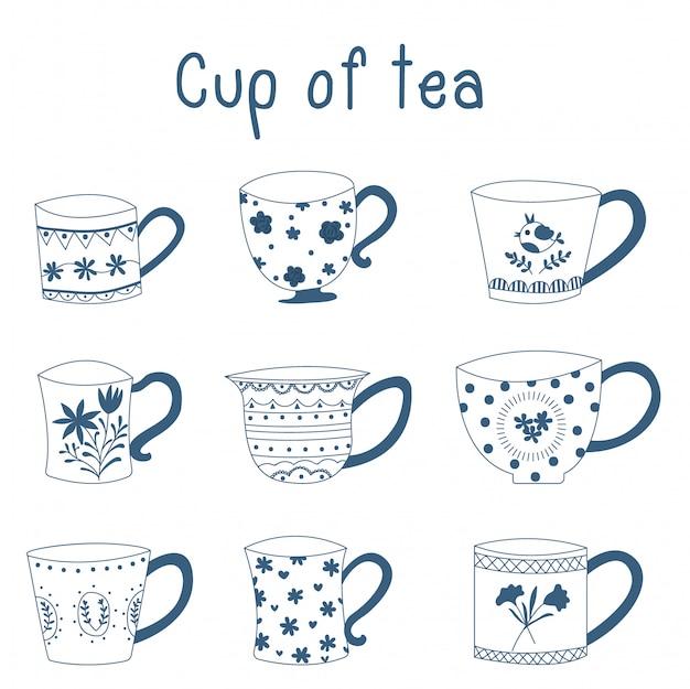 Doodle mano dibujado porcelana azul tazas de té de porcelana diseño vectorial