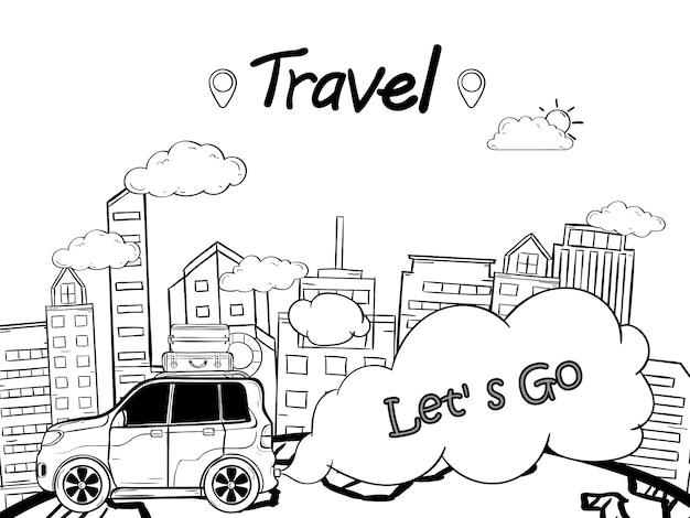 Doodle mano dibujar coche con punto de entrada en la ciudad viajar por todo el mundo