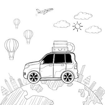 Doodle mano dibujar coche viajero de dibujos animados con humo y activos viajar alrededor del concepto del mundo