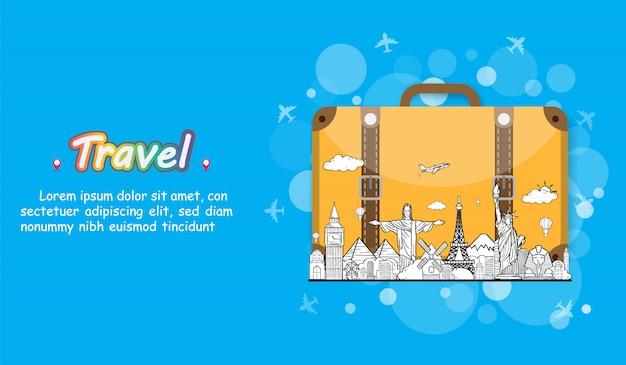Doodle mano dibujar viajero con equipaje. avión check in punto accesorios de viaje en todo el mundo concepto de diseño de fondo.