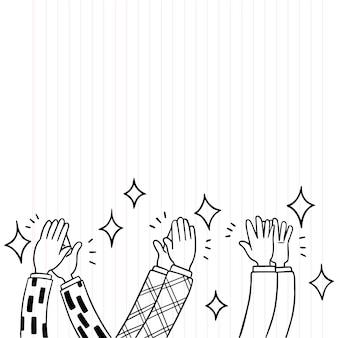 Doodle manos aplaudiendo ovación aplauden ilustración vectorial
