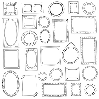 Doodle marco de fotos. dibujado a mano cuadrados ovales marcos de cuadros, álbum de recortes garabatear bordes de diario. bosquejo retro