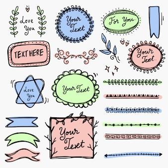 Doodle de marco y línea de colección de dibujo a mano.