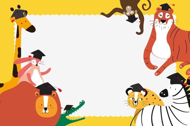 Doodle marco de safari en amarillo con lindos animales para niños